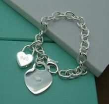B76  NEW  big discounts/ silver heart lock bracelet / Free shipping /925 Silver Charm Bracelet / wholesale Fashion Jewerly(China (Mainland))