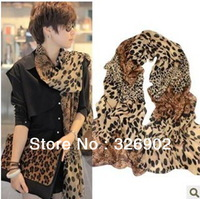 Free shipping 2013 New Classic leopard scarf European style design in Korea,Chiffon scarves,180CM*70CM,3 colors to choose,