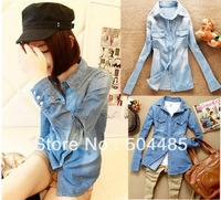 [C-439] Free Shipping Fashion Women's Casual Pure Cotton Blouses Ladies' Denim Shirts/Long Jeans Blouses