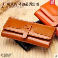 Vintage wax cowhide wallet female long design large capacity genuine leather women's wallet