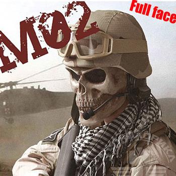 M02 Cacique Skull Full Face Mask For halloween Survival CS Wargame  Skeleton Black Silver-black Khaki