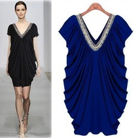 2013 Occidental Fashionable Dress Large Size Solid Color Rivet Dress Bat Sleeve Cool Dress Wholesale! Drop Shipping Support!
