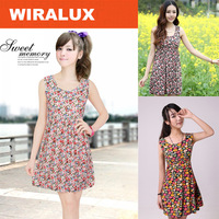 2014 Women's summer elegant fashion slim o-neck casual floral knee-length print dress