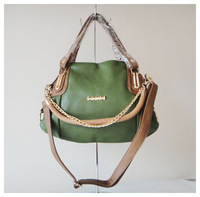 Designer ladys handbag,shoulder bag,material:PU + chain,Size:38x27cm, colors:blue,orange & army green,two function,Free shipping