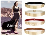 Retail fashion black embellished gold metallic metal keeper bling mirror skinny elastic waistband corset waist belt