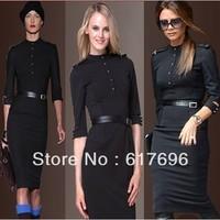 Victoria Style Posh Dress Newest Back Open MILITARY Celebrity Black (Belt Free) Size: S/M/L