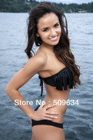 Wholesale and retail! bathing suit Sexy bikini with  Fringes 2013 new style swimsuit with purl  S M  L free shipping