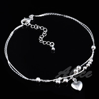 Free Shipping, 925 Silver Anklets High Quality Fashion Jewelry Solid Heart Pendant Anklet MA002