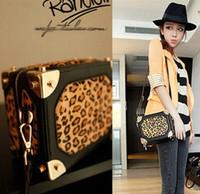 laidies fashion luxious genuine leather leopard print box horsehair ladies shoulder bag messenger bags