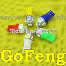 50pcs/lot Car led light W5W 194 T10 5SMD 5 led SMD 5050 Free shipping (China (Mainland))