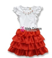 New  summer Fashion  Girls  Dress baby clothes lace F8107 wholesale free shipping