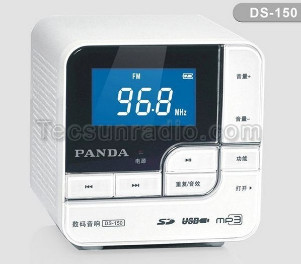 Free shipping hot sale Panda-150 Dual Decoder With card LCD Display Digital FM Radio Speaker(China (Mainland))