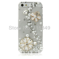 Edelweiss Cover for Iphone 5,Rhinestone Phone Case For Iphone 5 ,3D Bling Phone Accessory,Free Shipping