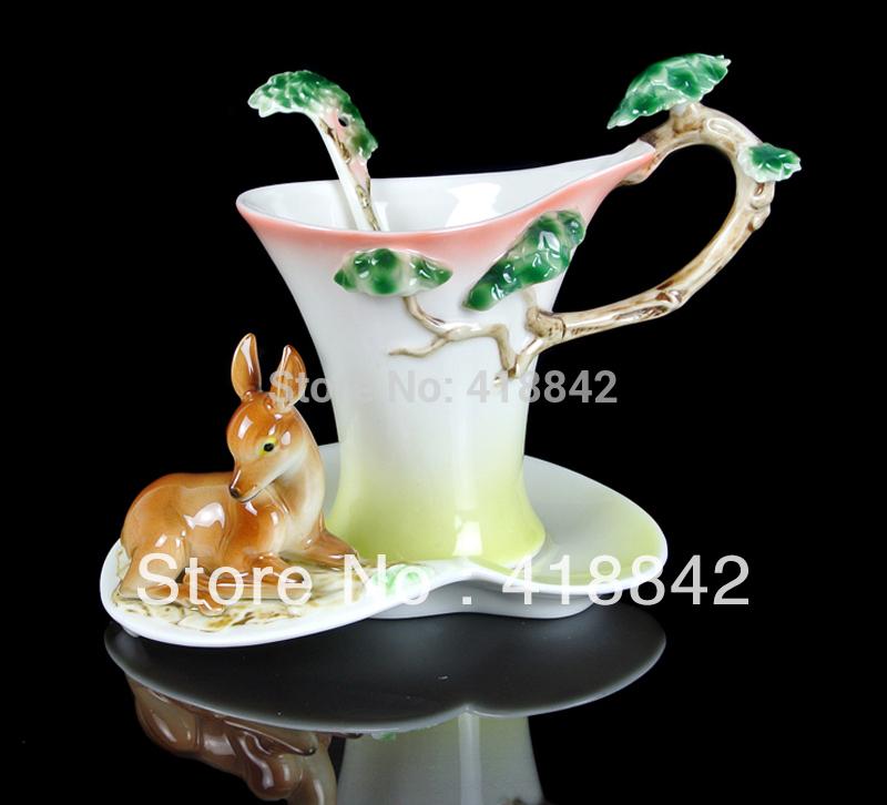 Lovely Deer Porcelain Tea Coffee Set 1Cup 1Saucer 1Spoon Christmas Gift