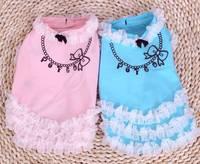 Clearance Fashion Princess Style Pet Clothes Warehouse Lace Top Dress necklace Pink&White&Blue Color Size XS ,S, M, L, XL