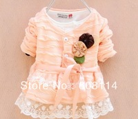Free Shipping Wholesale(4 pcs/lot) Cotton Girls' Flower Lace Cardigan/ Girls Fashion Coat/Children's Outwear