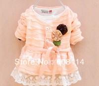 Free Shipping Wholesale(4 pcs/lot) Cotton Girls' Flower Lace Cardigan/ Girls Fashion Coat/Children's Outwear