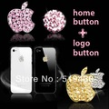 New Awsome Sticker 3 Colors Sells Luxury For iPhone 5 3/4G/4S iPod iPad Bling Diamond Crystal Deco Home Button & Logo Sticker(China (Mainland))