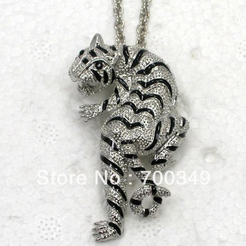 Wholesale Black(eyes) Crystal Enameling Tiger Pendant Necklace Jewelry F176 A(China (Mainland))