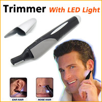 Personal Electric Nose Ear Hair Eyebrow Sideburns Trimmer Shaver With Light 5pcs/lot