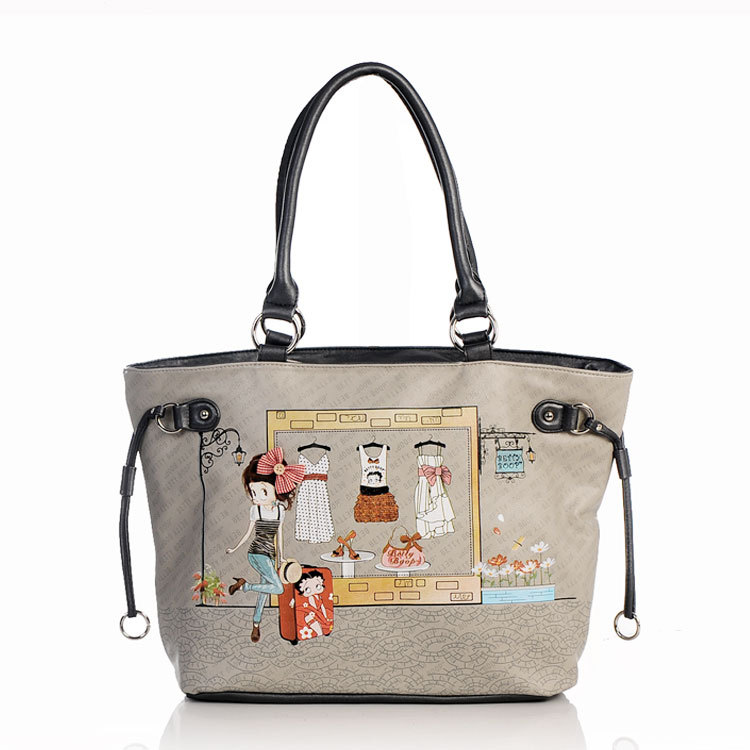BETTY boop Europe and American popular women's handbags 2013 new fashion lovely girls grey small shoulder bag free shipping(China (Mainland))