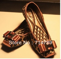 free shipping hot sale  REVA LEATHER Reva Ballerina Fashion metal decorative square head flat shoes Flats women shoes(1pairs)
