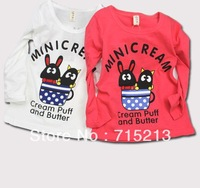 Free shipping New 2014 spring girls Korean style cotton printing long-sleeved T-shirt cotton cartoon girl's t-shirt