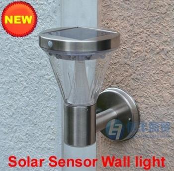 13 LED solar wall PIR light 100% solar powered Stainless Steel outdoor motion sensor lamp