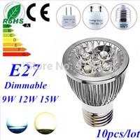 10pcs/lot Dimmable GU10 E27 MR16 12W High power LED Bulb Spotlight Downlight Lamp LED Lighting