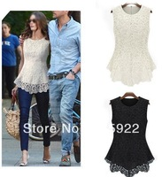 free shipping hot fashion Women Sleeveless Crew Neck Lace Peplum T shirt Vest Top Trendy Blouse 2color 4size S M L XL 9107
