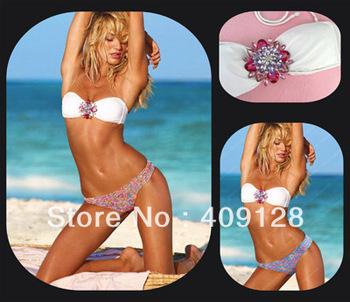 swimwear women 2013 sexy crystal bikni set push up beach wear brand swimsuit swimwear for women