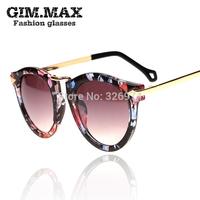 Gimmax fashion vintage round box male women's sunglasses personality sunglasses the trend of the sun glasses