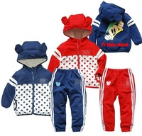 New, retails ,Free Shipping, baby clothes set,  long sleeve coat+pants,  2colors, 1set/lot--JYS44