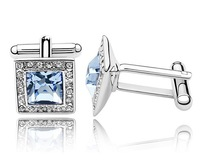Gift Box Light Blue & Clear Crystal  Men's Cufflinks Shirt Cuff Links Set Fashion Banquet Jewelry