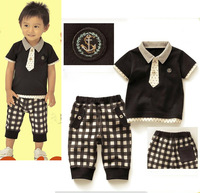 Free shipping!5set/lot , baby boy stylish set (T-shirt +shorts), children formal clothes set , little student suit for wholesale