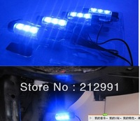 Free Shipping4x 3LED Car Interior Light Charge 12V Glow blue Decorative 4in1 Atmosphere Lamp
