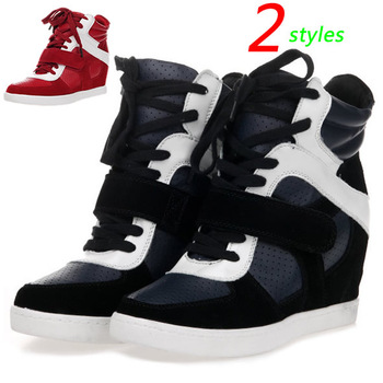 ASH Wedges Sneakers,Leather Patchwork-color Red-white Suede,Height Increasing Inside 6cm,Size EU 35~39,Women's Shoes
