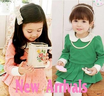 New Arrivals 2014 Korean style kids Girl Cute  Spring Dress,Children's clothing,Girl Long sleeve Dress