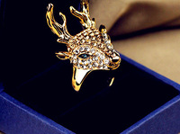 14K Metal Plated Fashion christmas elk rings for woman full rhinestone finger ring accessories For woman  Free shipping