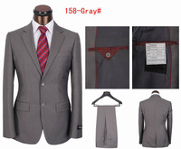 Promotion Men's Luxury Brand Suit Set Fashion Men Business Suit Black/Grey Size S-4XL