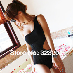 Female swimwear one piece triangle one shoulder s type sexy personality waist purplish blue hot spring swimsuit(China (Mainland))