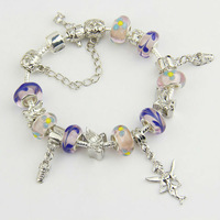 Aliexpress Hot Sell European Style 925 Silver Crystal Charm Women Bracelet With Murano Glass Beads DIY Jewelry PA1178
