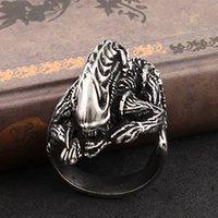 Unique AVP Ring Aliens VS Predator Xenomorph Rings Retro punk gothic jewelry Antique Gold Plated alloy ring (Min order 1 piece )