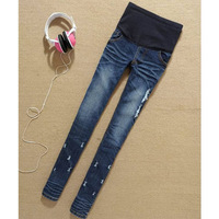 Pregnant women jeans abdominal pants denim belly elastic maternity trousers spring and autumn pencil clothes skinny pants