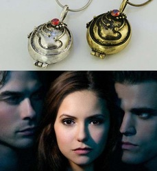 Fashion Vampire Diaries Locket Elena Vervain Vintage Silver Gold Womens Necklace Pendant Gift Wholesale free shipping min 15USD(China (Mainland))