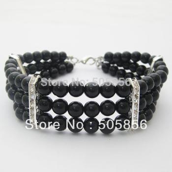Бесплатная доставка! 3 рядов черный / белый собака жемчуг воротник ожерелье с шиком ...