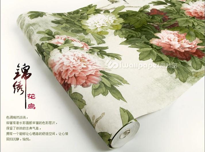 현대적인 대형 녹색 모란 꽃 벽지 확산을 새로운 중국 스타일의 ...