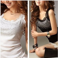 New 2014 Summer Dress Hot Camisole Woman's Top Lace Vest Ladies Brand Braces Cotton Tank Top Blusas Femininas