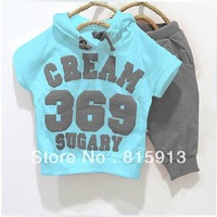 Free shipping 2013 New 100% cotton kids clothing set, hooded T-shirt+pant, CREAM 369 SUGARY children set, 4 colors available