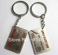 "Free shipping (50PR/LOT )Wholesale ""LOVE CREDIT CARD"" STAINLESS STEEL LOVE KEY RING-KEY CHAIN"